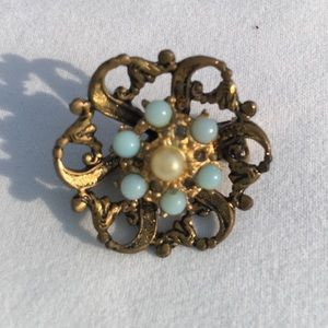 Vintage Goldtone aqua beads and pearl accents Pin